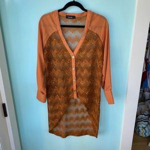 Boho Retro Dark Orange Anna Grace Tunic Shirt